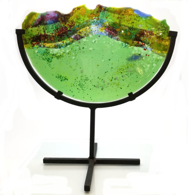Green art glass decor piece by Diane Anderson