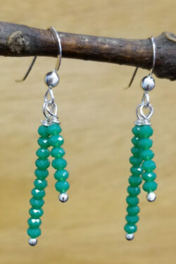 green faceted tiny art glass and sterling silver handmade dangle earrings