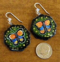 paper mache multicolored butterfly earrings with dime for scale