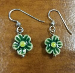 green ceramic daisy and sterling silver earrings