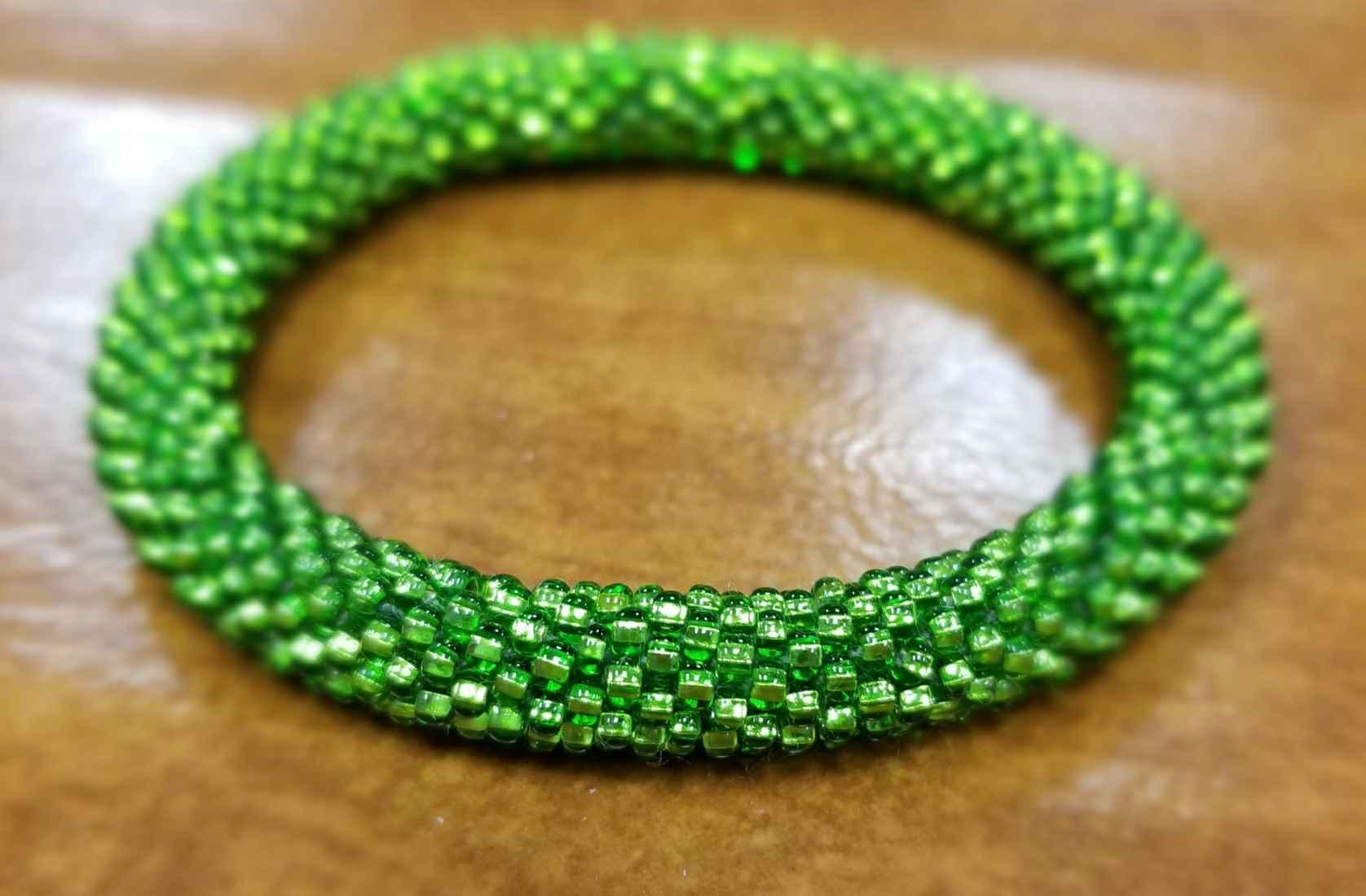 green Czech glass roll-on bracelet