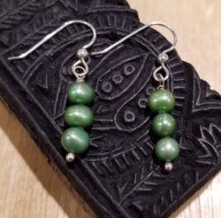green fresh water pearl earrings