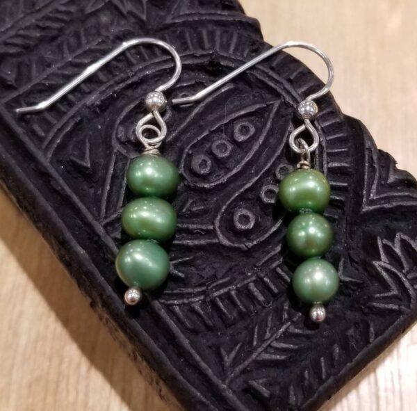 green fresh water pearl earrings