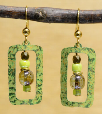 beaded green rectangles with goldtone accents earrings