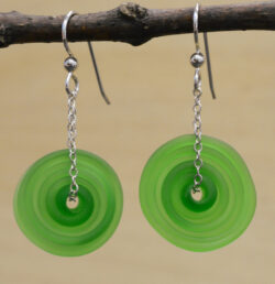 handmade green lampwork glass earrings