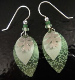 Oak leaf and green Adajio dangle earrings