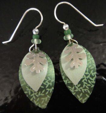 Oak leaf and green Adajio dangle earrings