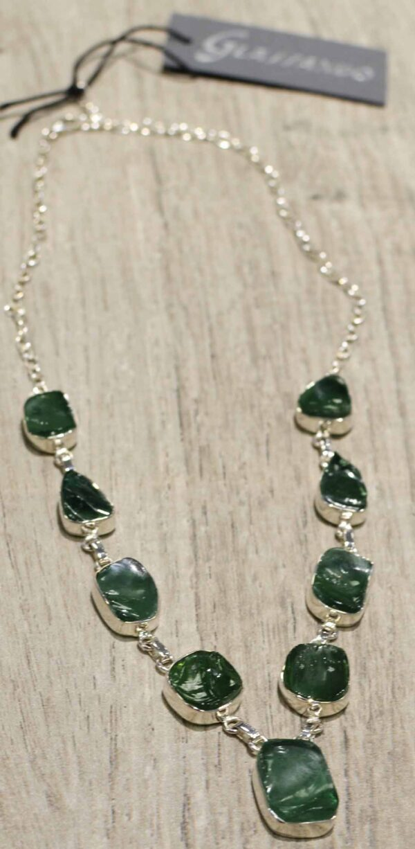 handmade rough green obsidian and sterling silver necklace