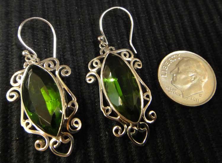 Green obsidian sterling silver handmade earrings