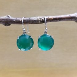 handmade green onyx and sterling silver checkerboard facet earrings