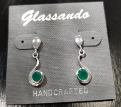 green onyx and sterling silver post earrings