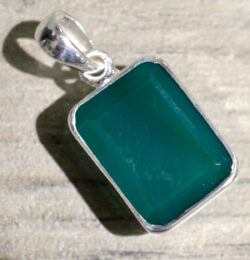 rectangle green onyx and sterling silver pendant