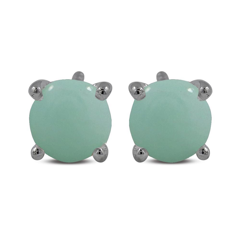 green opal and sterling silver stud earrings