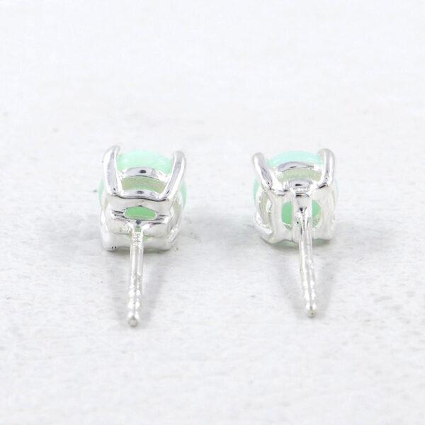 back view of green opal stud earrings