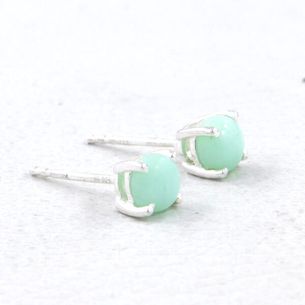 side view of green opal and sterling silver stud earrings