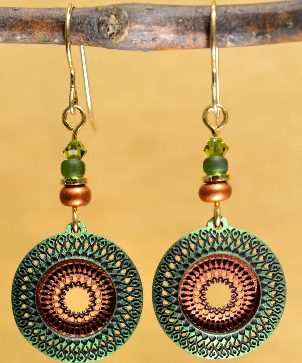 green and orange circle Adajio earrings