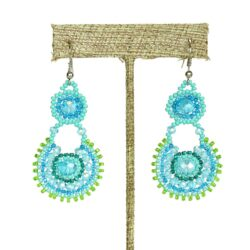 blue and green Czech glass beaded oval drop earrings