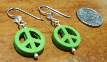 handmade green peace sign and sterling silver earrings with dime for size