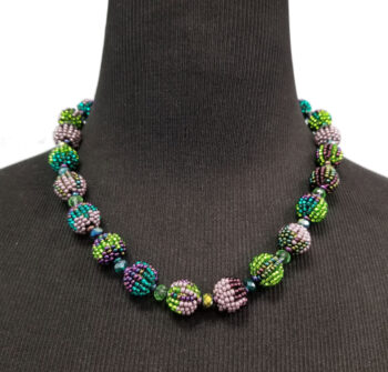 green and purple beaded necklace