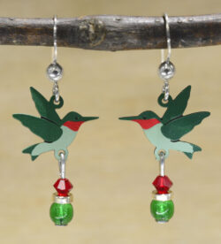 Sienna Sky green and red hummingbird earrings