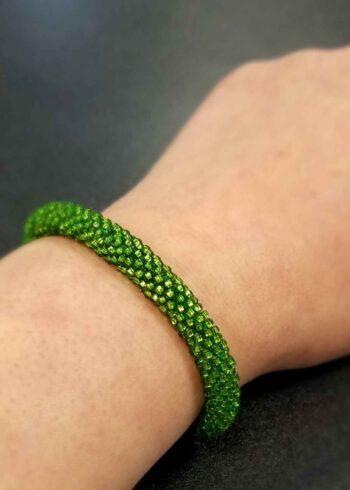 green Czech glass seed bead bracelet