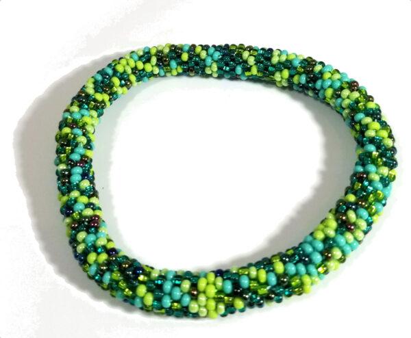 green Czech glass bracelet