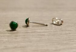 green enamel and sterling silver small stud earrings