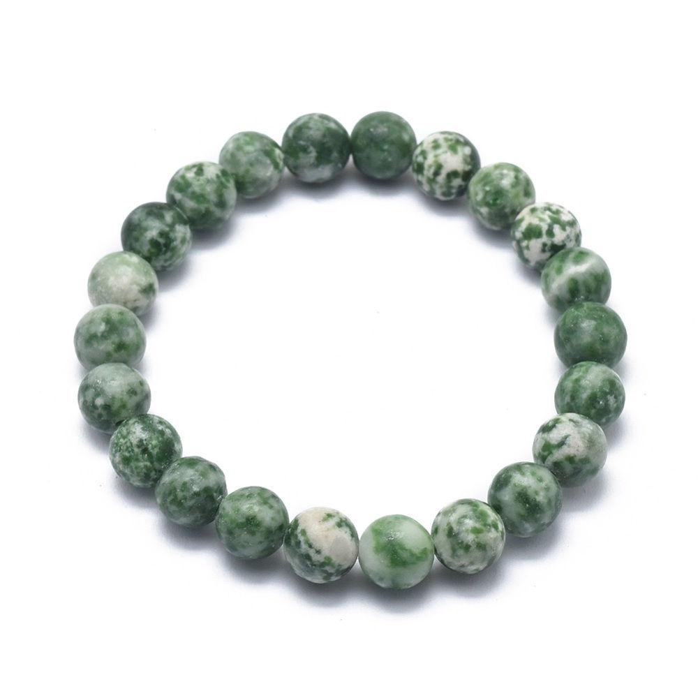 Green spot jasper stretch bracelet