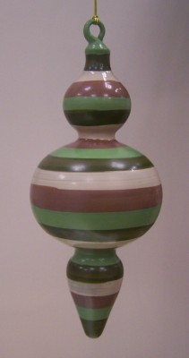hand painted blown glass striped christmas ornament