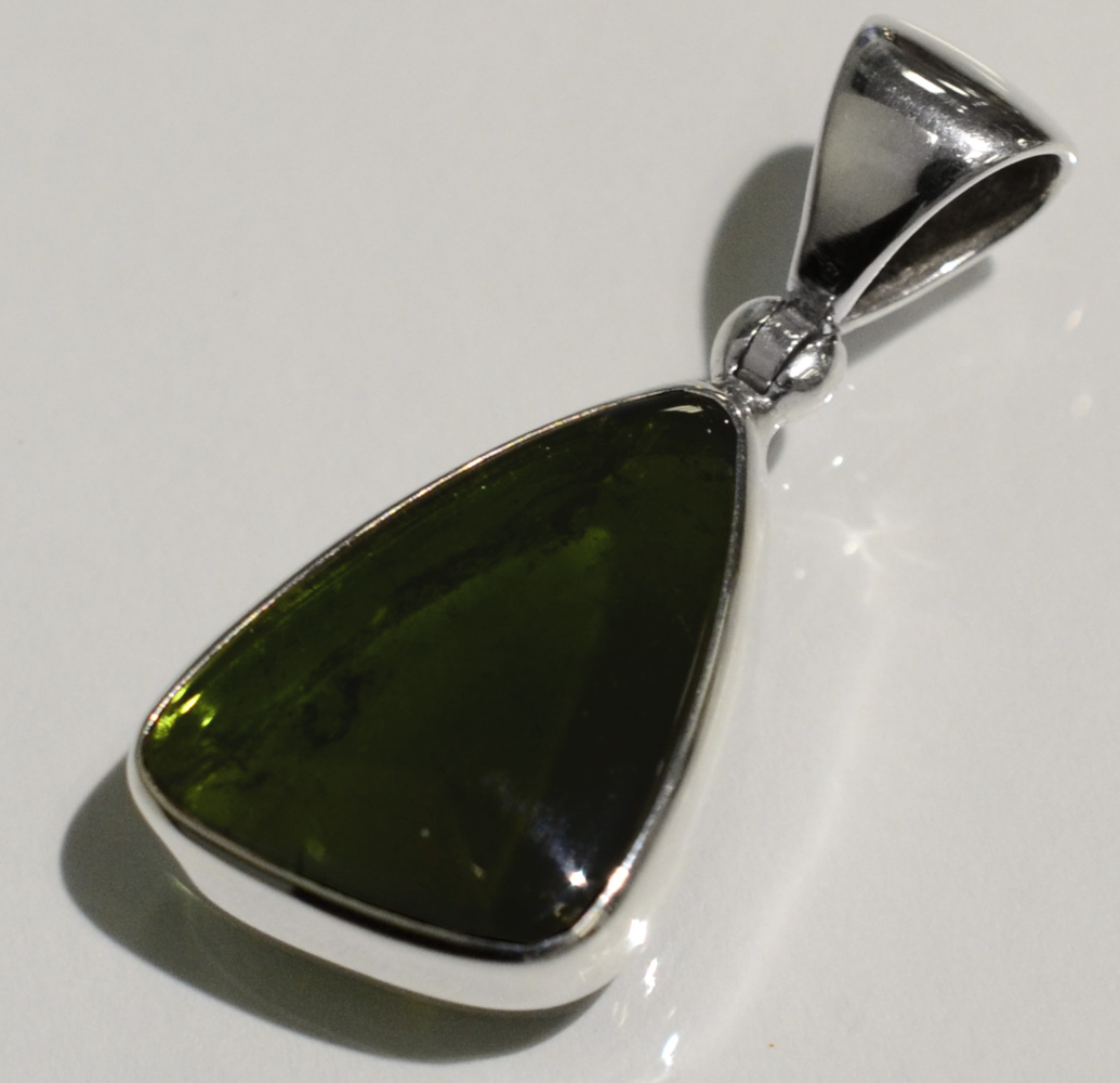 handmade polished green tourmaline triangle pendant
