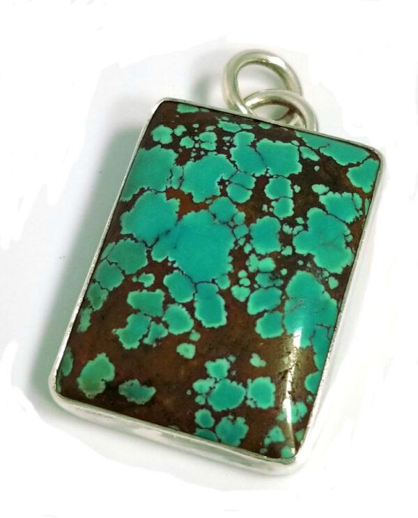 green turquoise rectangle pendant