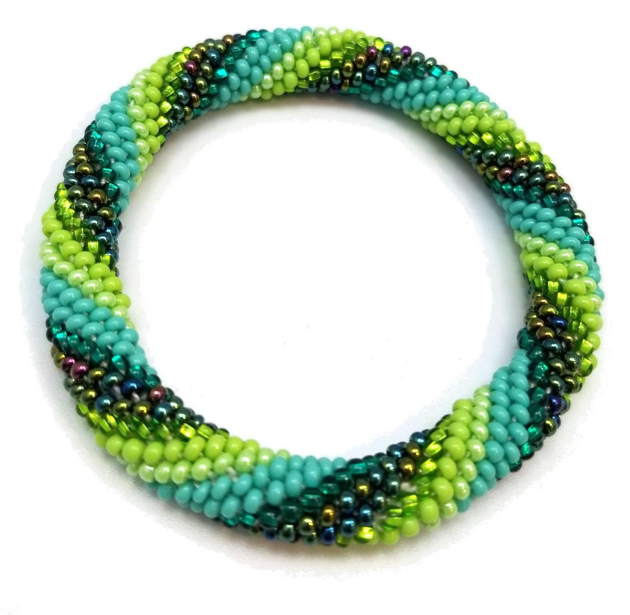 green Czech glass woven seed bead bracelet