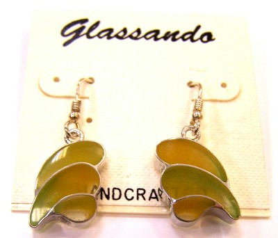green and yellow cold enamel dangle earrings