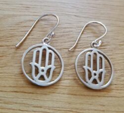 hamsa hand sterling silver drop earrings
