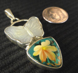 mother of pearl butterfly and hand painted flower pendant