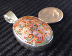 hand painted design on opalite and sterling silver pendant with dime for size