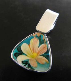 hand painted flower and sterling silver pendant