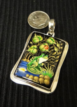 hand painted frog and ladybug design on black onyx and sterling silver pendant made in Russia with dime for size