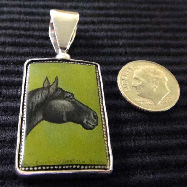 black horse and green painted black onyx on sterling silver pendant hand painted in Russia