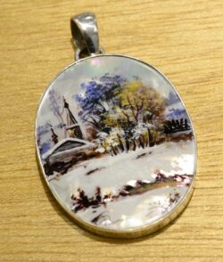hand painted winter nature scene pendant