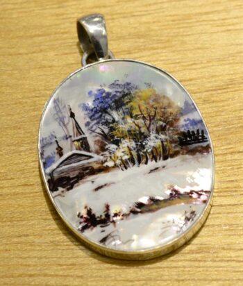 hand painted winter nature scene pendant