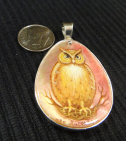 hand painted mother of pearl owl and silver pendant with dime for scale
