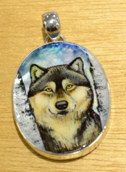 hand painted wolf pendant