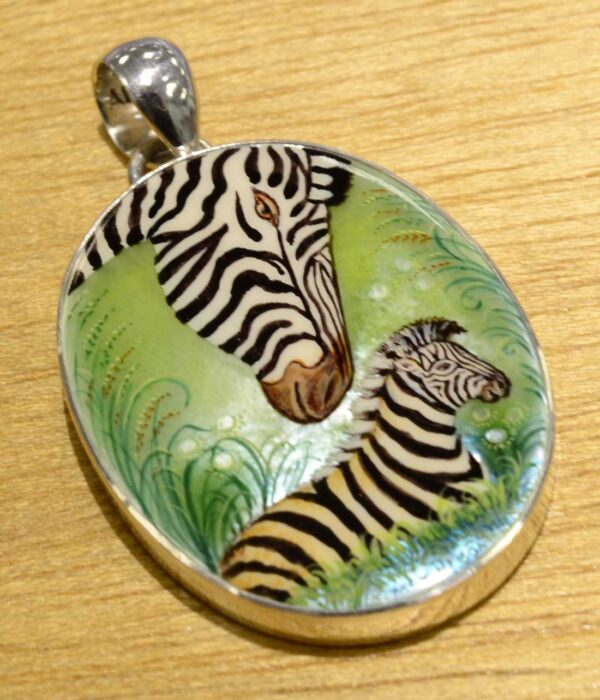 hand painted zebra mother and colt pendant
