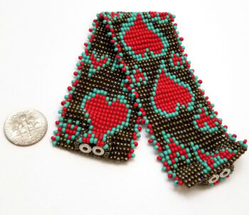 woven heart seed bead bracelet with dime to help you gauge scale