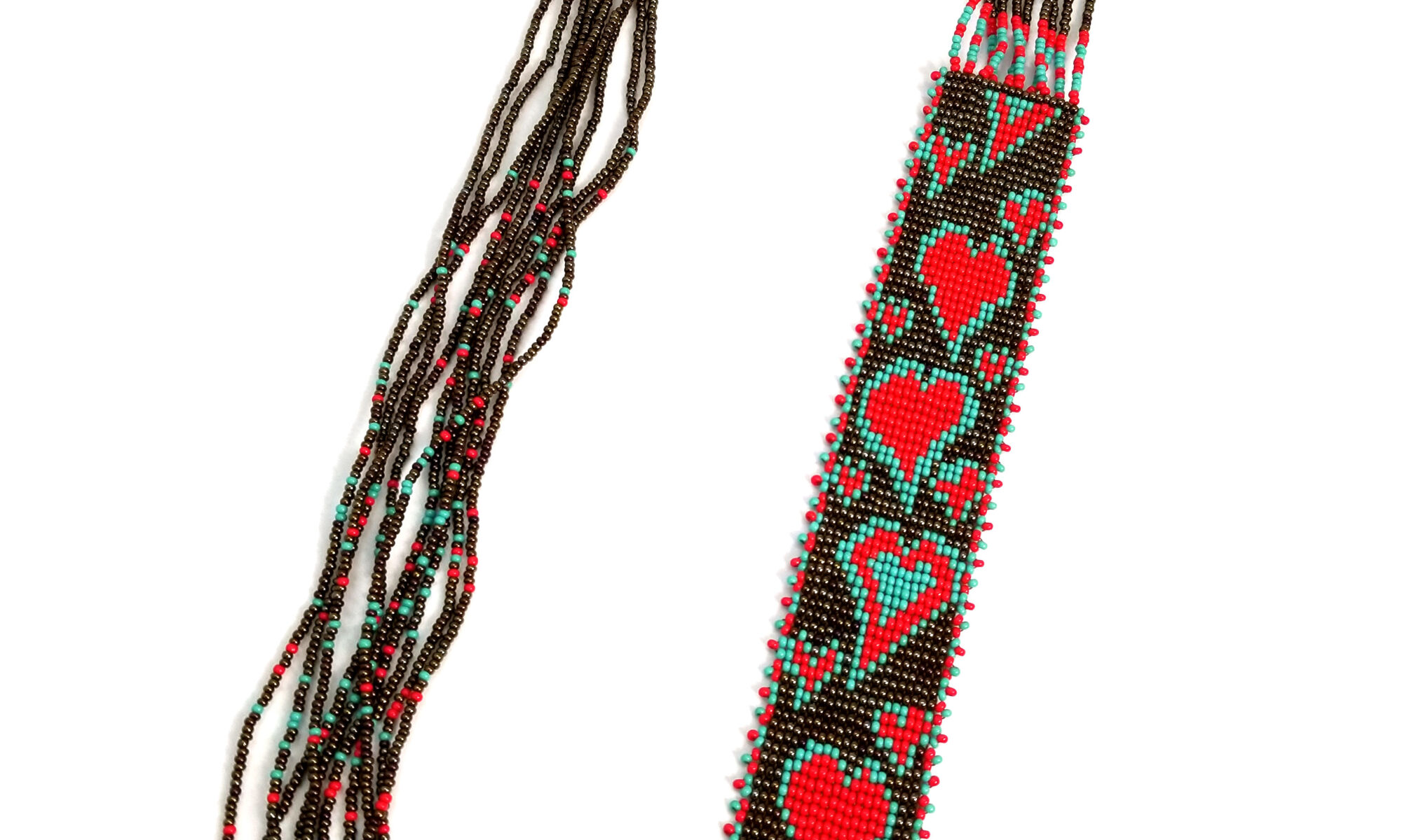 red, light blue, and bronze heart long seed bead necklace