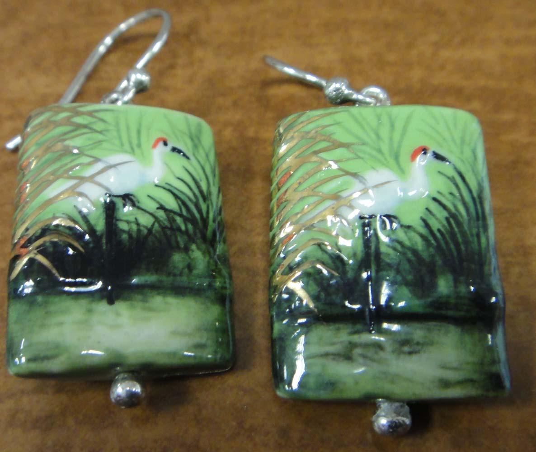 porcelain heron earrings