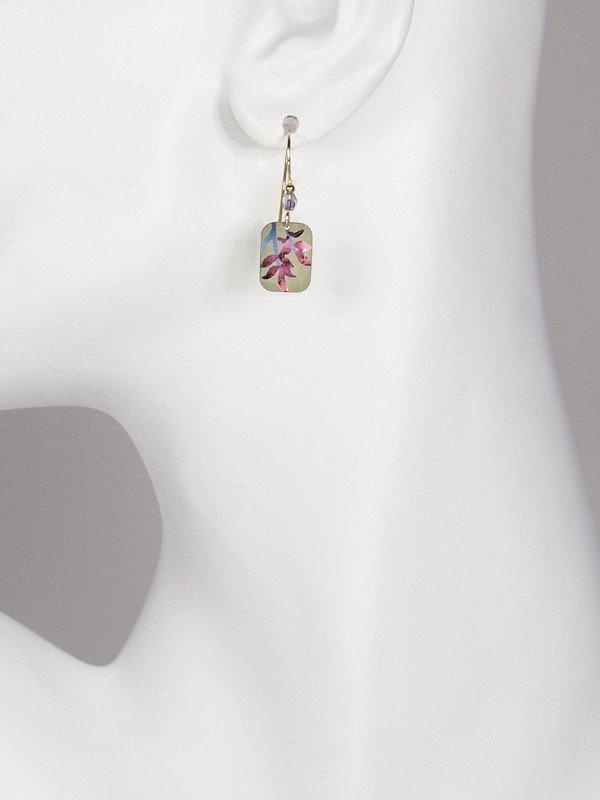 leaf earrings on model