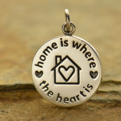 home is where the heart is silver pendant