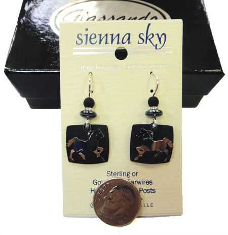 Sienna Sky running horse earrings with dime for scale
